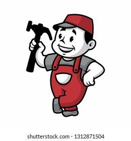 Vector illustration of a retro handyman holding hammer