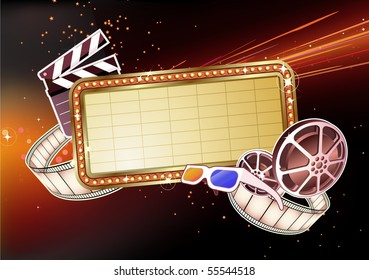 Vector illustration of  retro illuminated Movie marque Blank sign