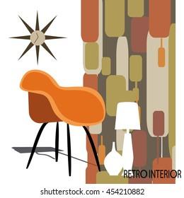Vector illustration of retro interior.
