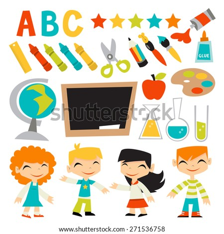 A Vector Illustration Of Retro Kids Back To School Set This Includes Four Cute