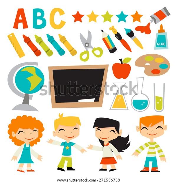 Vector Illustration Retro Kids Back School Stock Vector