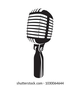 Vector illustration of retro microphone dark silhouette on white background