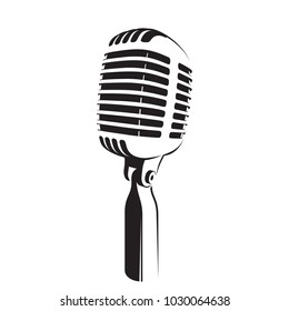 Vector illustration of retro microphone light silhouette on white background