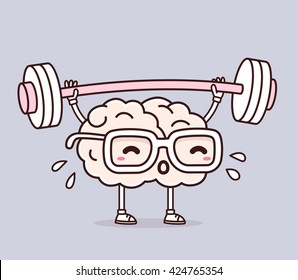 Vector illustration of retro pastel color pink brain with glasses lifting weights on gray background. Exercising cartoon brain concept. Doodle style. Thin line art flat design of brain for training