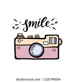 Vector illustration of a retro photo camera. Vintage photo camera with handlettering word smile.