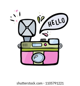 Vector illustration of a retro photo camera. Vintage photo camera with speech bubble and handlettering.