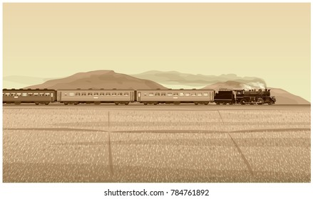 Vector Illustration: Retro photo old Vintage Style of Historic Procession Train classic Led by steam locomotive world war generation With background landscape in fields mountains and sky countryside.