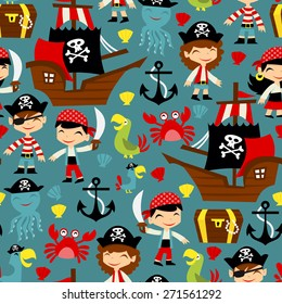 A vector illustration of retro pirate adventure seamless pattern background. It's fun, cute and filled with pirates, pirate ship, pirate parrots and more.