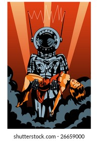 vector illustration of a retro robot carrying a helpless woman.... color version