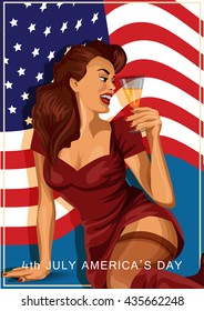 Vector illustration of retro sexy woman holding a glass of champagne with american flag on background, American Independence day