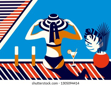 Vector illustration in retro style. A girl in a hat sits by the pool, sunbathes and relaxes on a sunny summer day.