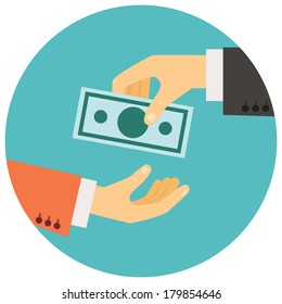 vector illustration in retro style, hand giving money to other hand