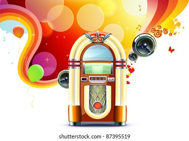 Vector illustration in retro style of party abstract  background with detailed classic juke box.