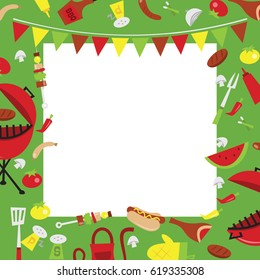 A vector illustration of retro summer barbecue party background. The image is filled with party elements like hot dogs, condiments, bbq and meat. There is a white square background for copy.