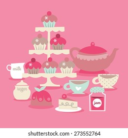 A vector illustration of retro tea time scene. Included in this scene: cupcakes on cupcakes stand, teapot, milk, sugar, teacup, cake, and jam.