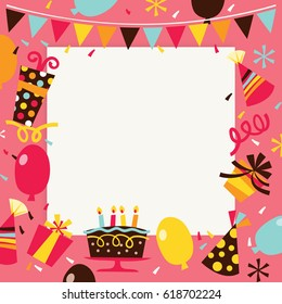A vector illustration of retro theme happy birthday surprise party background. The image is filled with party elements like balloons, confetti, party hats with a white square background  for copy.