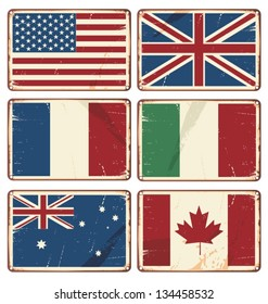 Vector illustration of retro tin signs with state flags.