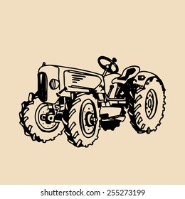Vector illustration of retro tractor in hand sketched style. Farm fresh logotype. Organic bio products badge. Eco food sign.