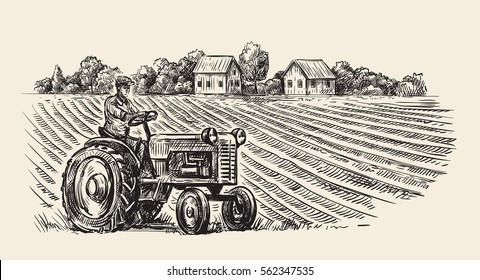 vector illustration of retro tractor in hand doodle style
