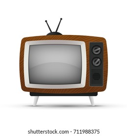 Vector illustration, retro tv set icon isolated on a white background