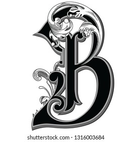 Vector illustration of retro uppercase letter B with decorations isolated on white background.Antique Letter with baroque ornamentation. Elegant black capital letter to use monograms, logos,emblems
