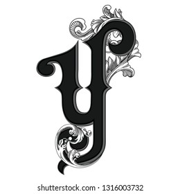 Vector illustration of retro uppercase letter Y with decorations isolated on white background.Antique Letter with baroque ornamentation. Elegant black capital letter to use monograms, logos,emblems