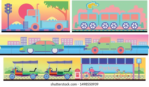 Vector illustration Retro vehicles set with urban street backgrond,city transportation concept.