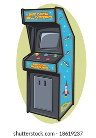vector illustration of a retro video game console