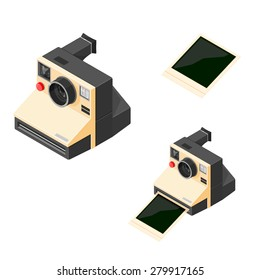 A vector illustration of a retro vintage camera. Retro camera taking and printing a photograph. Picture taking with a vintage camera.