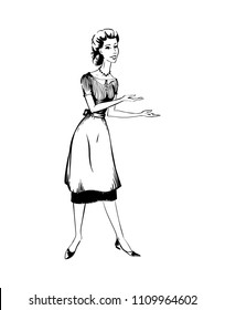 Vector illustration of a retro woman of 1950s in apron as waitress presenting something - showing with her hands on copy space, black and white outline illustration in 50s style isolated on white