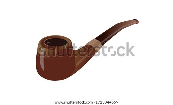 ベクターイラスト、レトロな木製喫煙用パイプ