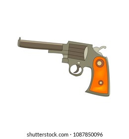 Vector illustration of a  revolver. Cartoon style. Wild west theme.