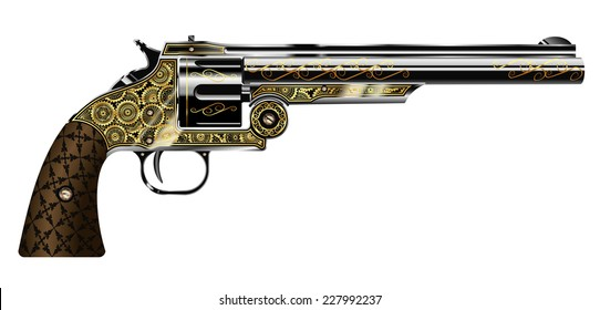 vector illustration of a revolver, engraved in the steampunk style isolated on white background
