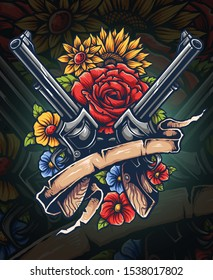Vector illustration of revolver guns with flowers