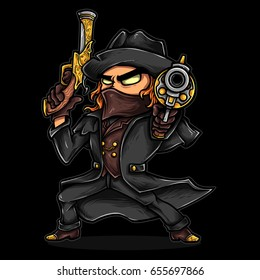 Vector Illustration of revolver hero cowboy outlaw with gun and black suit.