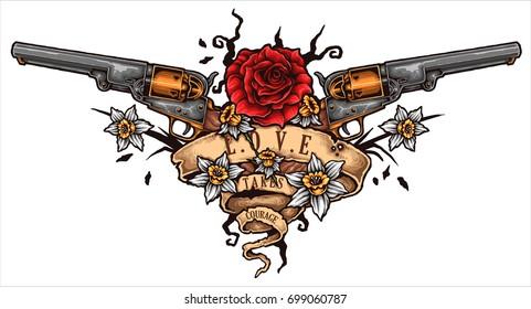 Vector illustration of Revolver Rose flower love banner