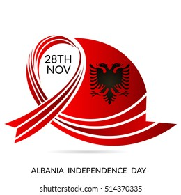 Vector illustration of a Ribbon For Albania Independence Day.
