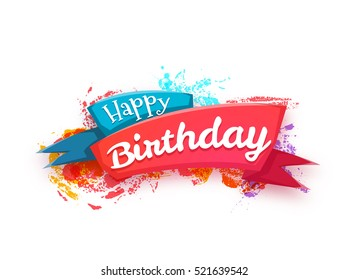Vector illustration of ribbon with Happy Birthday title.