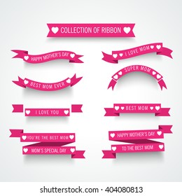 Vector illustration of a Ribbon Set for Happy Mother's Day.