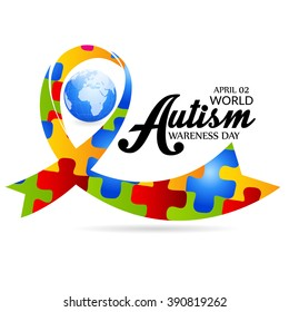 Vector illustration of a ribbon for World Autism Day.