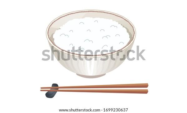 ベクターイラスト お米と箸