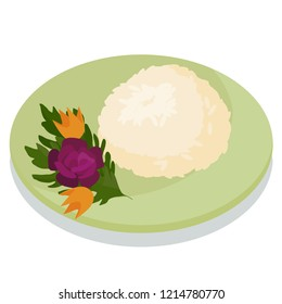 Vector illustration of rice on plate with salad vegetable and rice dish tasty rice with flovers vegetables made of vegetables and tasty rice dish delicious dish for restraunt