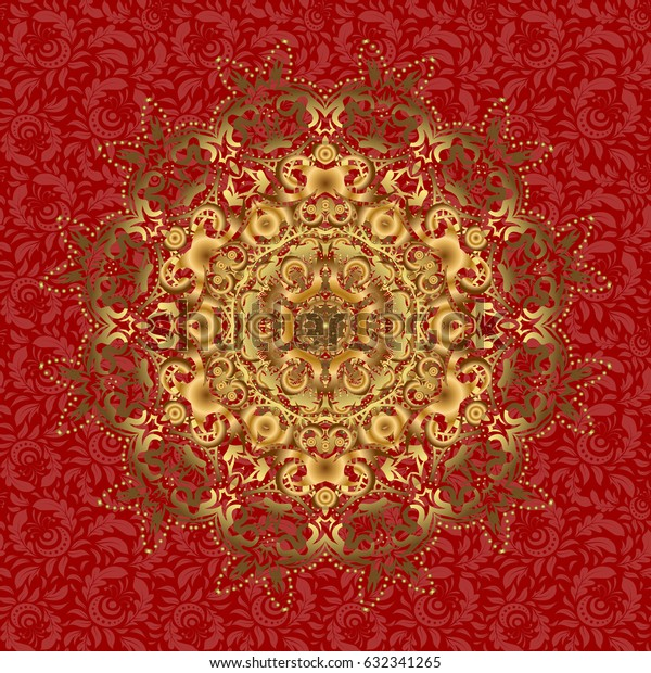Vector illustration. Rich ethnic striped seamless pattern geometric design. Golden mandala on red background. Mandala style.