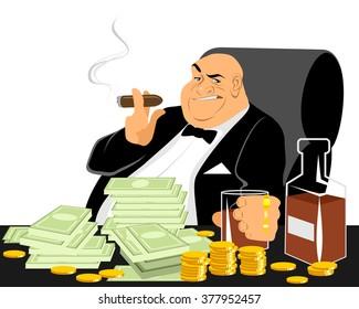 Vector illustration of a rich man smoking