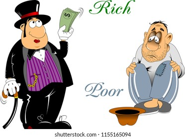 vector illustration of Rich and Poor Difference Concept