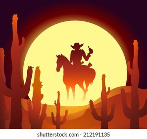 vector illustration of rider in mexican desert at the sundown hour