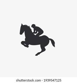 Vector illustration of rider on horse