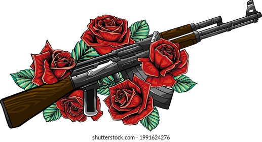 Vector Illustration of rifle with roses design