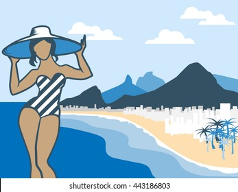 Vector illustration with Rio de Janeiro bay mountains famous landscape. Flat Copacabana beach peaks silhouette for background. Beautiful Brazilian girl on seafront.