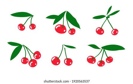 Vector illustration of ripe cherries. Berries and green leaves. Vector isolated.